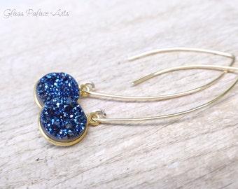 Blue Druzy Earrings, Blue Crystal Earrings, Sapphire Blue Earrings, September Birthstone, Blue Bridesmaid Jewelry, Dangle Earrings Gift