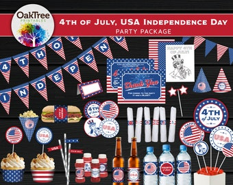 4th of July, USA America Independence Day Party Package Set - Printable - DIY - Invitation Included - 20 Items