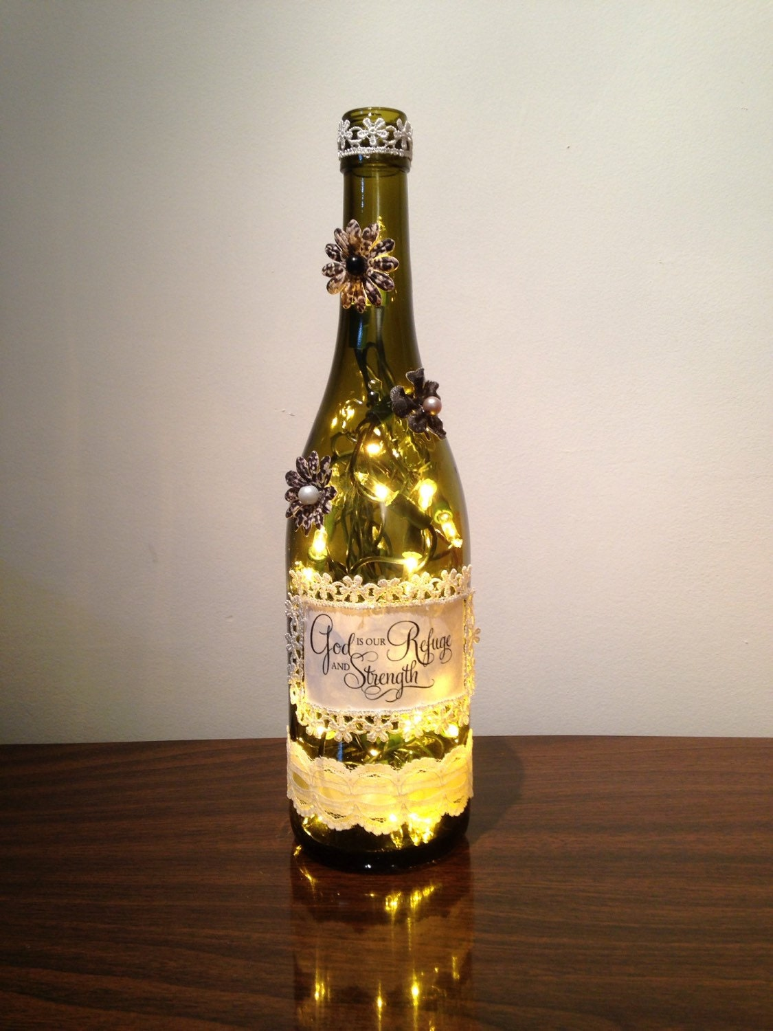 God is our refuge and strength wine bottle lamp inspirational for Champagne bottle lamp