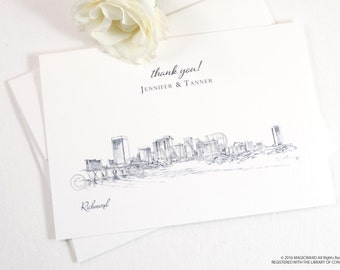 Richmond Skyline Wedding Thank You Cards, Personal Note Cards, Bridal Shower Thank you Cards (set of 25 cards)