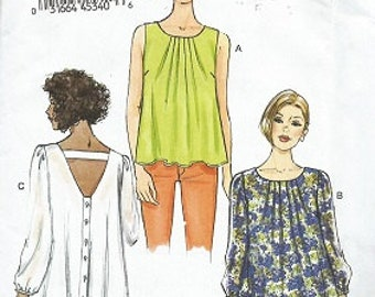 Very Easy VOGUE Pattern - Uncut - V8977 - Size Lrg, XLg, XXL, Misses Top - Copyright 2014