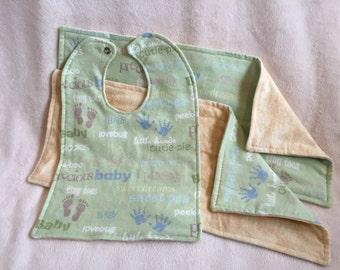 Baby Gift Set, Baby Love, 1 Bib and 2 Burp Cloths, Reversible