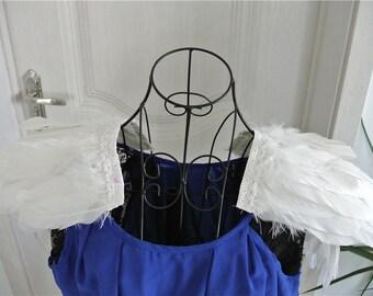 Handmade white goose feather epaulette pads Carnival feather shoulder shrug burning man festival epaulettes