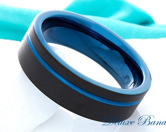 Tungsten Wedding Ring Blue Black 8mm Promise Ring Blue Tungsten Ring Men Women Anniversary Ring Engagement Ring Comfort Fit Personalized