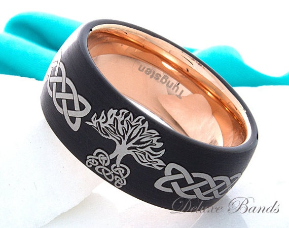 Tungsten Ring Wedding Celtic Knot Family Tree
