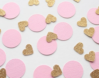 "Pink & Gold 1"" Circle and Heart Confetti/ 100 Count/Party Decoration/ Birthday/ Wedding/ Bridal Shower/ Baby Shower/ Table Confetti"