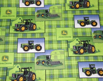 BTY JOHN DEERE Plaid Patch Allover Print 100% Cotton Quilt Craft Fabric by the Yard