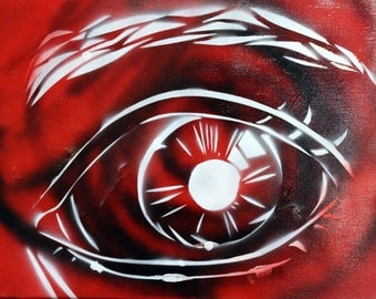 Spray Paint on Canvas: Red Eye