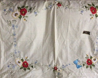 Vintage Embroidered floral  1960's tablecloth