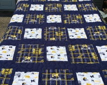 This is a new  handmade twin size quilt featuring two different licensed university of michigan fabrics.