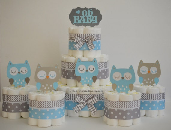 items similar to owl baby shower blue grey diaper cake. Black Bedroom Furniture Sets. Home Design Ideas