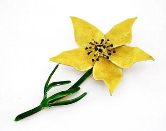 Original by Robert Yellow Flower Brooch, Vintage Jewelry, Enamel Pin
