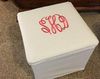 Monogrammed Storage Footstool