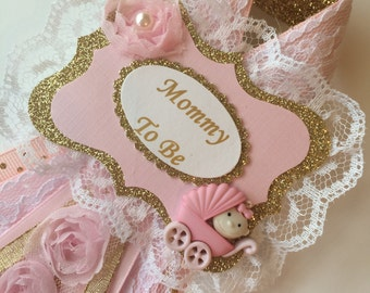 Pink and gold baby shower corsage/Pink and gold aja by chic Mommy to be corsage/Girl baby shower corsage/Elegant baby shower corsage