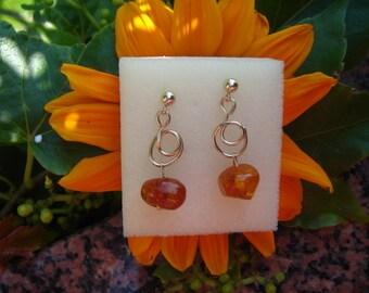 Gold Earrings, 585 goldfilled with amber, connector