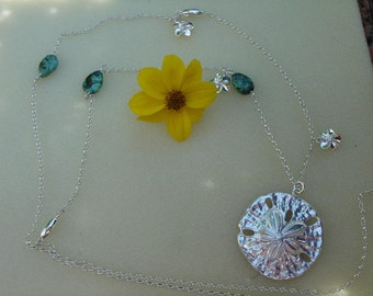925 Silver chain on genuine turquoise! Nice, long necklace with flowers!