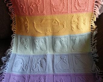 Baby Blanket, Noah's Ark Blanket, Crochet Noah's Ark Blanket, Crochet Baby Blanket, Animal Baby Blanket, Multi-Colored Baby Blanket