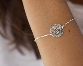 Sterling silver chain bracelet, Flower bracelet, Filigree, Circle bracelet