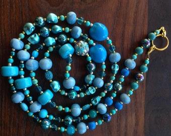 Davey - Long Blue Statement Necklace