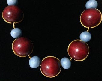 Californicus - Bright Red & Blue Statement Necklace