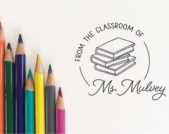 Custom Teacher Stamp. Custom Book Stamp. From The Classroom Of Stamp. From the Library of Stamp. This Book Belongs To Stamp  (STEAC100)