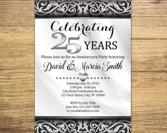 25th Silver Wedding Anniversary Invitation, Silver And Black, Elegant 25th Anniversary Invite, Digital Or Printed
