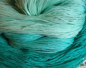 Hand Dyed 4ply Sock Yarn {SPEARMINT} Aqua Turquoise Mint Superwash Merino 100g/400m
