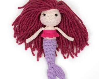 Ready to Ship Raspberry Haired Mini Mermaid