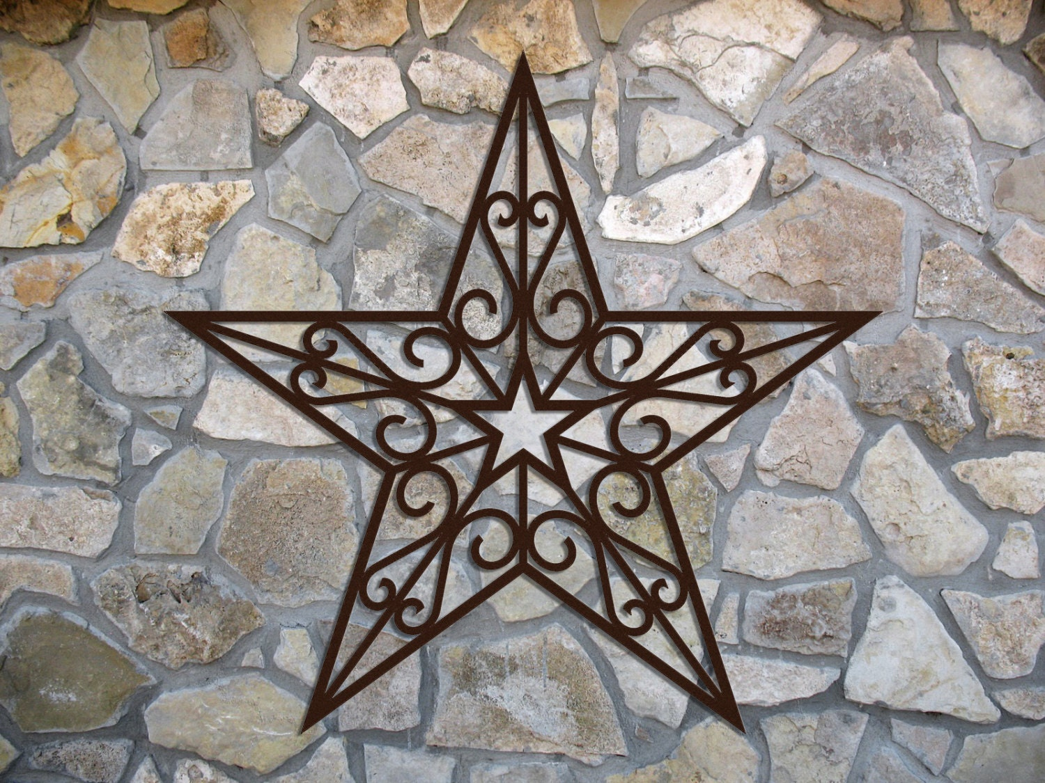 wrought iron inspired wall hanging star with scrolls multiple. Black Bedroom Furniture Sets. Home Design Ideas