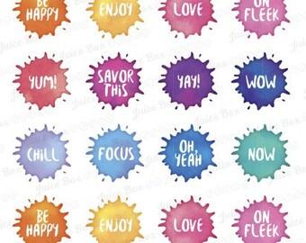Set of 20 Fun Watercolor Word Splash Stickers