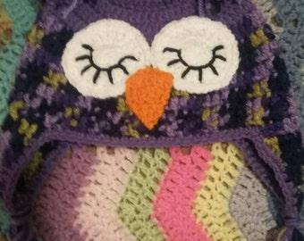 Crochet Owl Hat,Sleeping Owl,Winter Hat