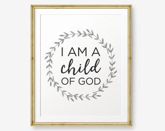 I Am A Child Of God, Bible Verse art print, Girl Nursery wall art, Scripture art, Nursery verse, Boy Nursery