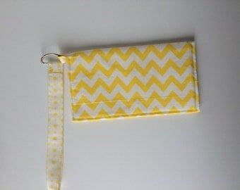 Yellow Chevron wristlet