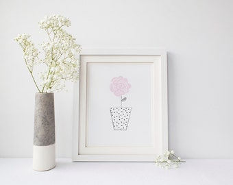 Pale Pink Flower Wall Art Print | Pastel Minimalist Doodle Art Print for All Ages