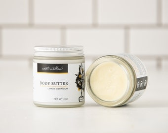 Lemon Geranium Body Butter, Whipped Body Butter, Organic Body Butter - Body Butter - Shea Butter - Whipped Shea