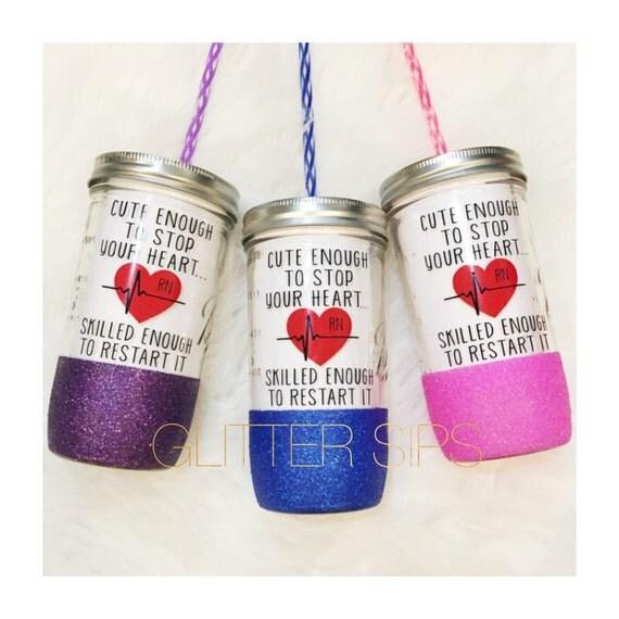 Nurse RN Glitter Mason Jar Tumbler // Nurse Gift // By