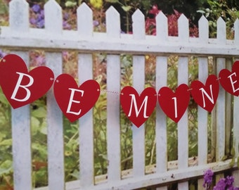Be Mine Valentine's Day Banner, Valentine's Day Decoration, Heart Banner