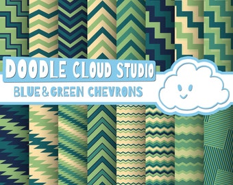 Blue and Green Chevron digital paper, Chevron and Stripes  pattern, Zig Zag lines Cream backgrounds for Personal & Commercial Use