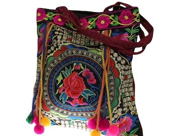 Colorful Hippie Bag, Asian motif, Lotusrad