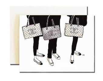 Chanel Bag Blank Card / Fashion Illustration Card / Any Occasion Card / Fashion Blank Card / Chanel Illustration / Chanel Card/ Card for Her