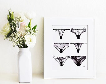 Lingerie panty wall art. Print of my Original illustration with Ink and watercolor.
