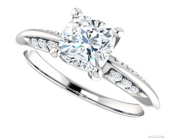 Rosabelle Cushion Cut Engagement Ring - 1.27ctw Cushion Cut Forever Brilliant Moissanite and Diamond Ring