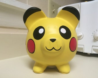 Pikachu Pokemon Hand Painted Ceramic Piggy Bank Medium