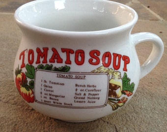 Vintage Tomato Soup Recipe Mug with Red Yellow and Green Retro Fun