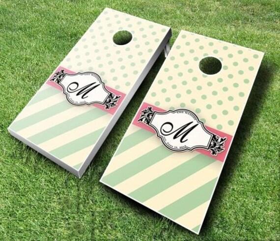 Wedding Ribbon Wedding Set Cornhole Boards With CUSTOM TEXT Name
