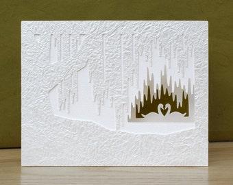 Romantic Valentine's Day card - Swan Valentine's card - Paper cut valentine - Luxury love card