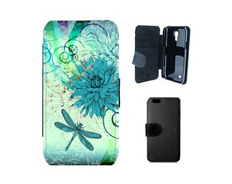 Dragonfly floral wallet case iPhone 8 7 6S 6 Plus, SE X 5S 5C 4S, Samsung Galaxy Flip S8 S7 S6 Edge S4 S5 Mini Note 5 phone cover. F57