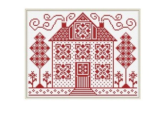 Sampler Cross Stitch Pattern, Home, House, cross stitch patterns, pdf, instant download