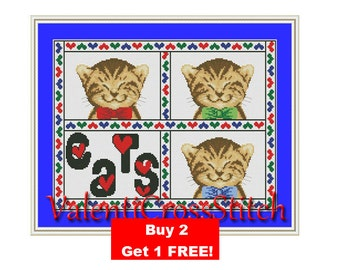 I love CAT Cross Stitch Pattern, Cats, I love, Counted cross stitch pattern, cross stitch chart