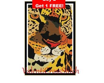 Modern Leopard Cross Stitch Pattern-Modern-Pattern-Cross Stitch-Patterns-Panther-PDF